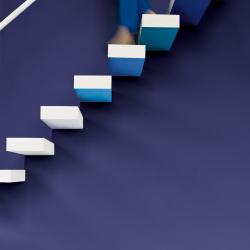 blå vägg trappa svävande steg