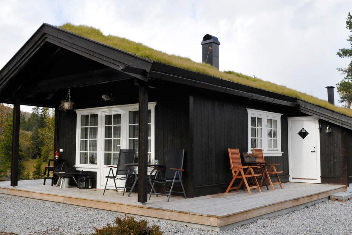 brun hytte med stor uteplass foran