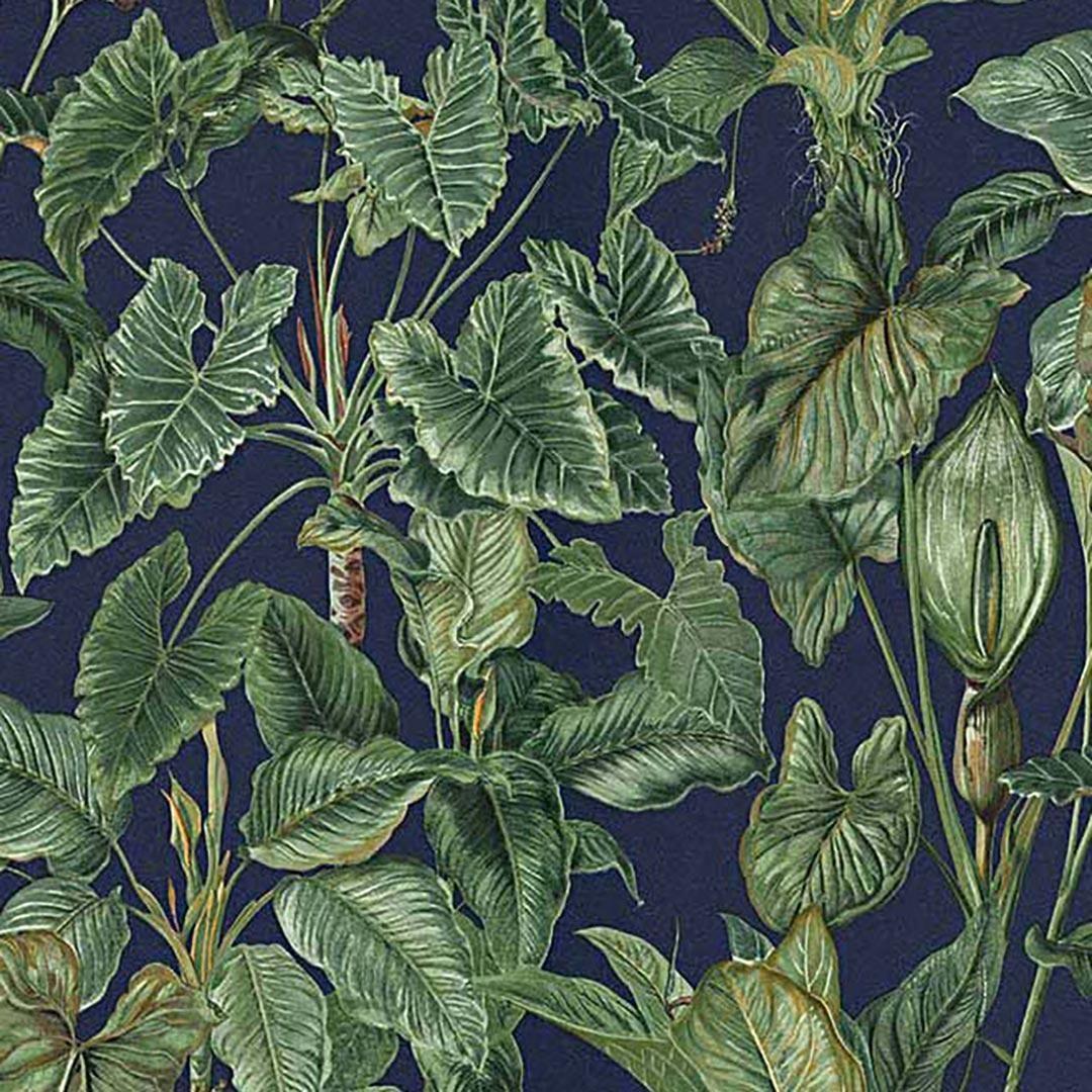Utsnitt av tapet med grønne blader og blå bakgrunn